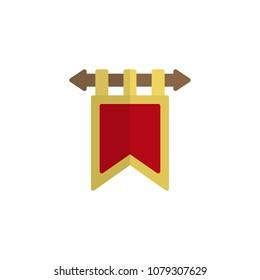 Ancient flag flat icon, vector sign, colorful pictogram isolated on white. Hanging flag symbol, logo illustration. Flat style design