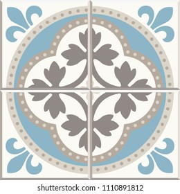 Ancient floor ceramic tiles. Flooring tiling seamless vector background. Vector illustration.