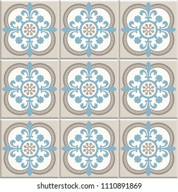 Ancient floor ceramic tiles. Flooring tiling seamless vector background. Vector illustration. Cross fleury in quatrefoil shapes pattern.