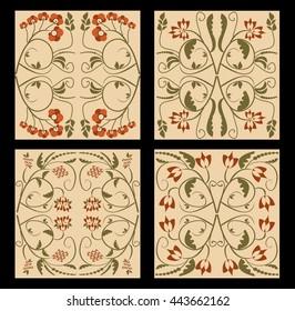 Ancient folklore tile set. Nostalgic colored folklore ornament. Flourish patterns in muted colors. Vintage ornament in art deco style. Vector retro tile set.