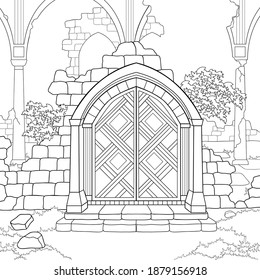 Ancient gates with ruins of castle, plants, arches, pillars, sky on white isolated background. Hand drawn fantasy architecture. For coloring book pages.