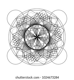 Ancient geometric mandala abstract line. Unique shape black and white illustration.