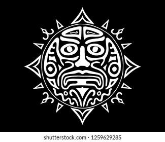 Ancient God Face vector illustration. South American Inca, Mayan, Aztec symbol of the Sun. Tattoo design. Tribal magic spell emblem. Native sacred shamanic mystic element. Traditional drawing