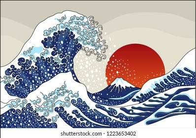 An ancient great Japanese wave illustration