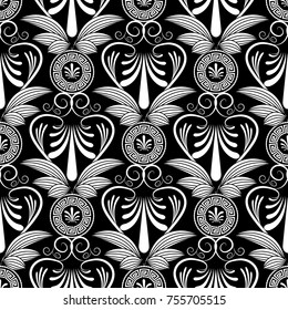 Ancient grecian floral seamless pattern. Vector greece meander   background with hand drawn vintage striped flowers, swirl lines, abstract love hearts, circle greek key ornaments.  Isolated texture