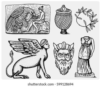 ancient Greece, antique symbols Ganymede and eagle amphora, vase, athena statue and satyr mask vintage, engraved hand drawn in sketch or wood cut style, old looking retro, isolated .