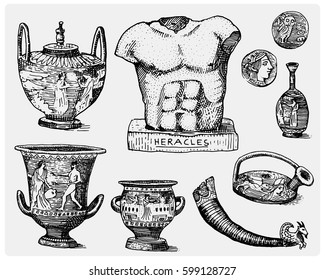 ancient Greece, antique symbols, greek coins, heracles sculpture, amphora vintage, engraved hand drawn in sketch or wood cut style, old looking retro, isolated vector realistic illustration.