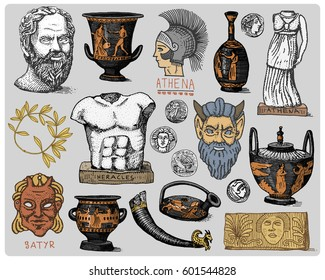ancient Greece, antique symbols Socrates head, laurel wreath, athena statue and satyr face with coins, amphora, vase, heracles vintage, engraved hand drawn in sketch or wood cut style, old