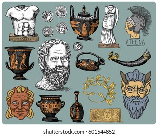 ancient Greece, antique symbols Socrates head, laurel wreath, athena statue and satyr face with coins, amphora, vase, heracles vintage, engraved hand drawn in sketch or wood cut style, old .