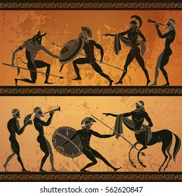 Ancient Greece banner. Black figure pottery hunting for a Minotaur, gods, warrior centaur. Classical Ancient Greek style