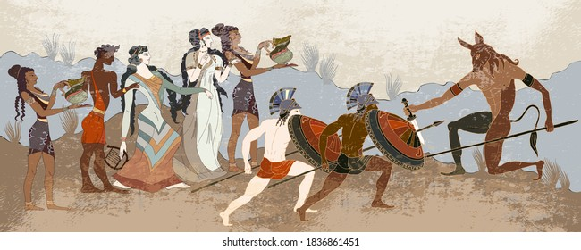Ancient Greece banner. Classical medieval style. Vector illustration. Hunting for a Minotaur