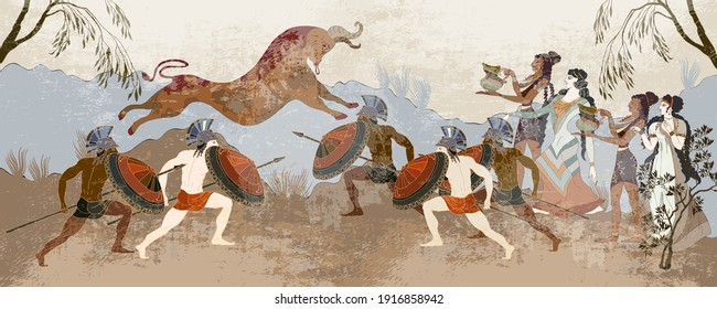 Ancient Greece banner. Hunting for Minotaur. Minoan civilization. Classical medieval style. Vector illustration