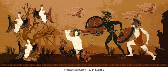 Ancient Greece. Black figure pottery style. Hero Hercules, harpy, Medusa gorgon. Warriors. Legends and mythology art. History and culture scene. Ancient Greek scene