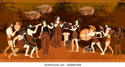 Ancient Greece frescos. Ancient Crete. Knossos murals mythology. Minoan civilization concept