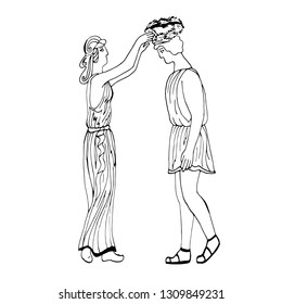 Ancient Greece. The girl puts a laurel wreath on the young man. Hand drawing. Vector.