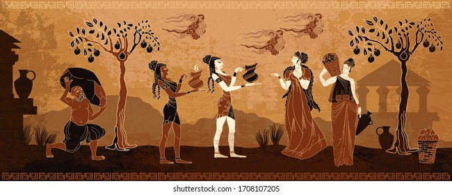 Ancient Greece. Goddesses and people. Black figure pottery style. Ancient Greek mythology. Old history and culture