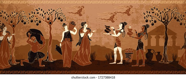 Ancient Greece. Horizontal seamless pattern. Old history and culture.  Goddesses and people. Black figure pottery style. Greek mythology art