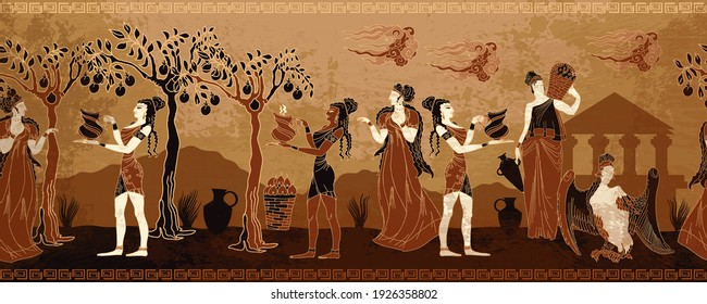 Ancient Greece. Horizontal seamless pattern. Greek mythology art. Old history and culture. Goddesses and people. Black figure pottery style