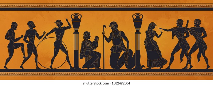 Ancient Greece mythology. Antic history black silhouettes of people and gods on pottery. Vector archeology pattern mythological culture on ceramics illustration