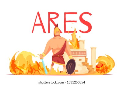 Ancient greece olympian god of war ares in helmet with sword amidst battle flat cartoon vector illustration