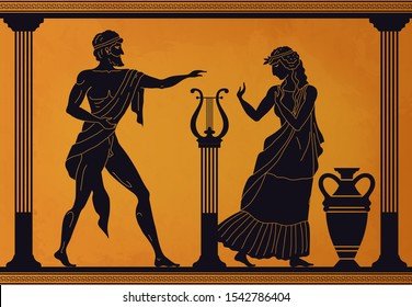 Ancient Greece scene. Antic vase with silhouettes of mythology characters and gods, Vector legendary Greek people mythological pattern old culture with woman and man in toga with lyre and amphora