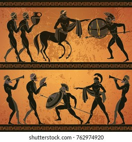 Ancient Greece scene banner. Black figure pottery. Ancient Greek mythology. Centaur, people, gods of an Olympus. Classical Ancient Greek style