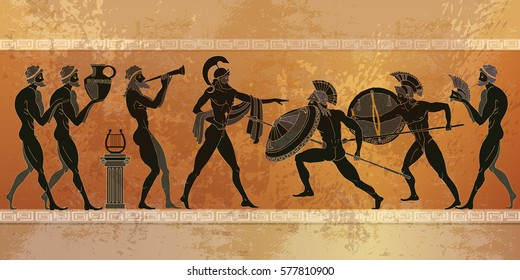 Ancient Greece scene. Black figure pottery. Ancient Greek mythology. Warriors Sparta people, gods