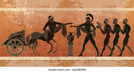 Ancient Greece scene. Black figure pottery. Ancient Greek mythology. Gods of an Olympus. Classical Ancient Greek style