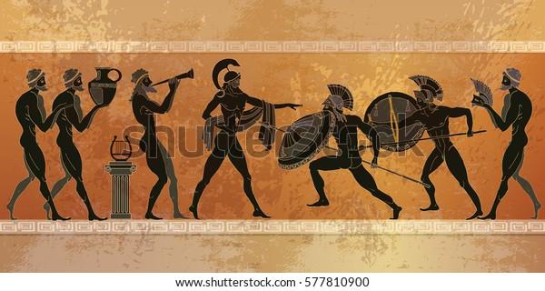 Сцена Древней Греции. Черная фигура керамики. Древняя греческая мифология. Воины Спарты люди, боги
