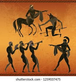 Ancient Greece scene. Centaur, people, gods of an Olympus. Black figure pottery