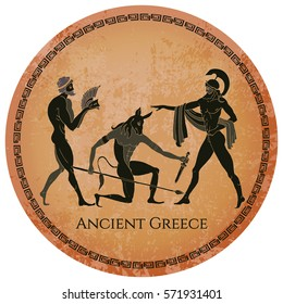 Ancient Greece scene. Classical Ancient Greek style black figure pottery. Hunting for a Minotaur gods fighter