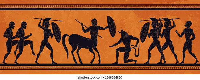 Ancient Greece scene. Historic mythology silhouettes with gods and centaurs, figures and pattern for ancient amphora. Vector mythological image art ancients amphoras ornaments