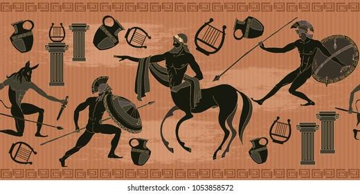 Ancient Greece scene seamless pattern. Black figure pottery. Ancient Greek mythology. Centaur, people, gods of an Olympus. Classical Ancient Greek pattern