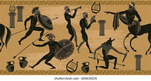 Ancient Greece scene seamless pattern. Black figure pottery. Ancient Greek mythology. Centaur, people, gods of an Olympus. Classical Ancient Greek style seamless background