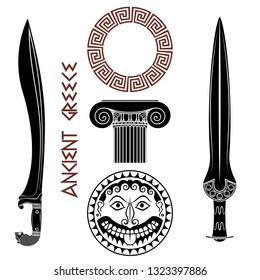 Ancient Greece set. Shield with Gorgon Medusa head, ancient Greek swords, Greek column, and Greek ornament meander, isolated on white, vector illustration