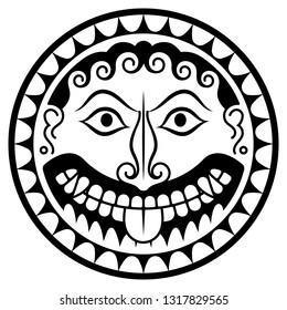 Ancient Greece Shield with Gorgon Medusa head, isolated on white, vector illustration