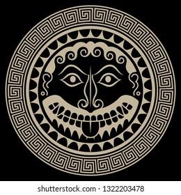 Ancient Greece Shield with Gorgon Medusa head, isolated on black, vector illustration