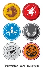Ancient Greece, shields of warriors with monsters, vector