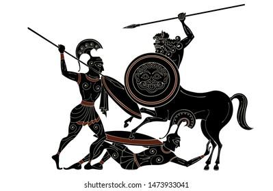 Ancient greece warrior.Black figure pottery.Centaur,hero,spartan,myth