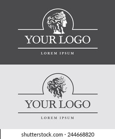 Ancient Greece woman head logo template