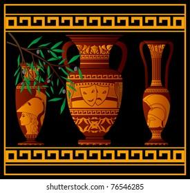 ancient greek amphora and jugs. vector illustration