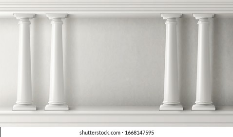 Ancient greek architecture with pillars. Vector realistic antique building with white marble wall and column with capital in doric style. Background with roman temple frame, classic palace arch