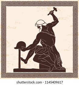 Ancient Greek artisan smith with a hammer and helmet in his hands. Figure on a beige background with the effect of aging and ornament.