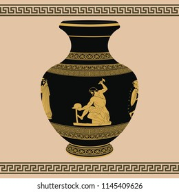 Ancient Greek artisan smith with a hammer and helmet in his hands. Drawing on the vase.