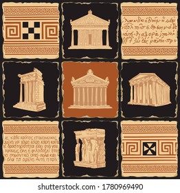 Ancient Greek banner in the form of a set of stone, clay or ceramic tiles. Vector illustrations with Greek ornaments, illegible Greek script and famous architectural landmarks of ancient Greece