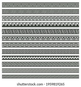 Ancient greek borders. Greek roman meander and wave decorative seamless patterns vector illustration set. Greek geometric meander borders. Roman pattern decoration, border wave meander