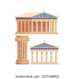 Ancient Greek buildings and architecture Greece culture pixel art icons, temple with columns, antique Column pillar parthenon landmark, isolated vector illustration. Design logo, app, sticker. 8-bit.
