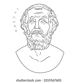 Ancient Greek bust of the poet and inscription Homer isolated on white background.