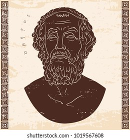 Ancient Greek bust of the poet and inscription Homer. Old beige paper with the aging effect isolated on white background.