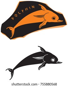Ancient Greek ceramic style dolphin icon, red figure vase painting series vector design element